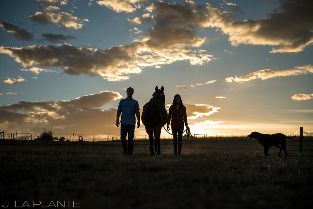 J. La Plante Photo   Colorado Wedding Photographer   Horse Ranch Engagement   Engagement Shoot with Horse