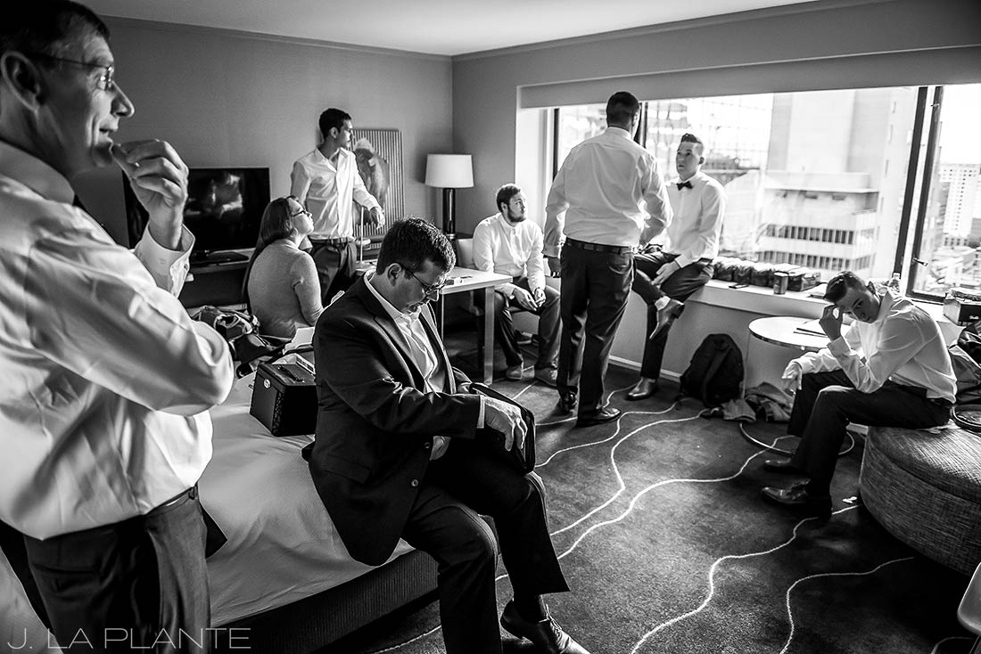J. La Plante Photo | Denver Wedding Photographer | Grand Hyatt Wedding | Groom and groomsmen getting ready