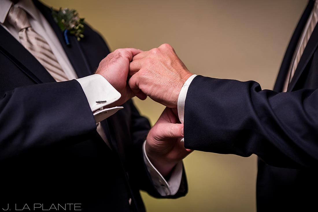 Groomsmen getting ready | Fall wedding at Della Terra | Estes Park wedding photographers | J. La Plante Photo