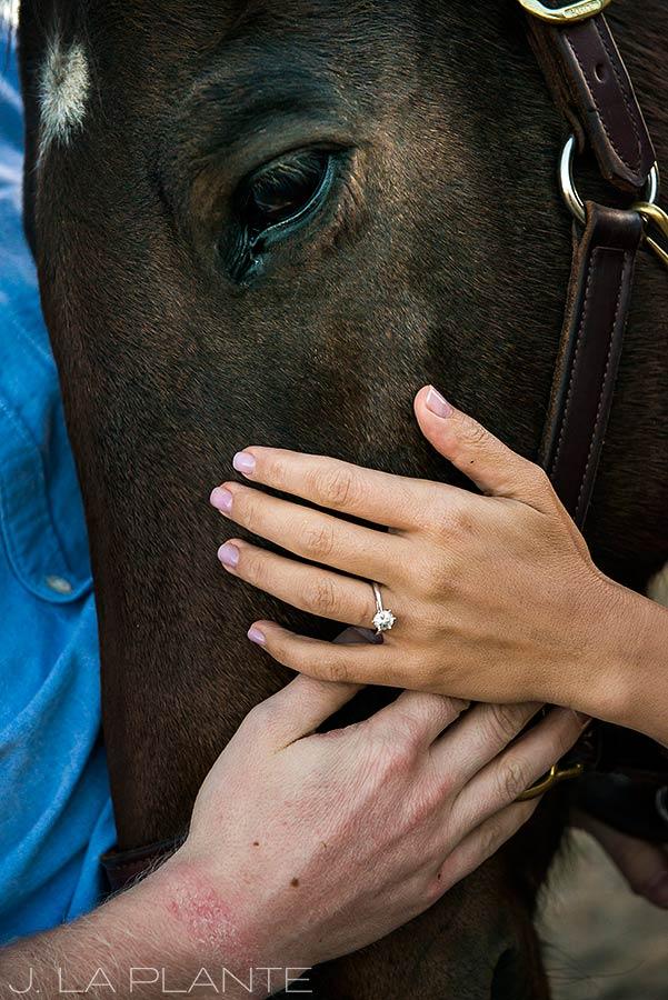 J. La Plante Photo | Colorado Wedding Photographer | Horse Ranch Engagement | Engagement Shoot with Horse