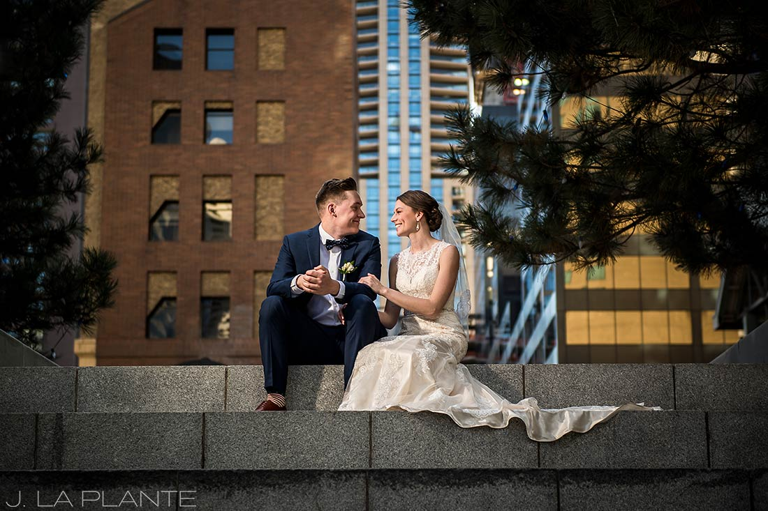 J. La Plante Photo | Denver Wedding Photographer | Grand Hyatt Wedding | Bride and groom in city