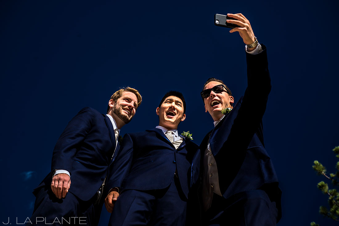 Groomsmen goofing off | Fall wedding at Della Terra | Estes Park wedding photographers | J. La Plante Photo