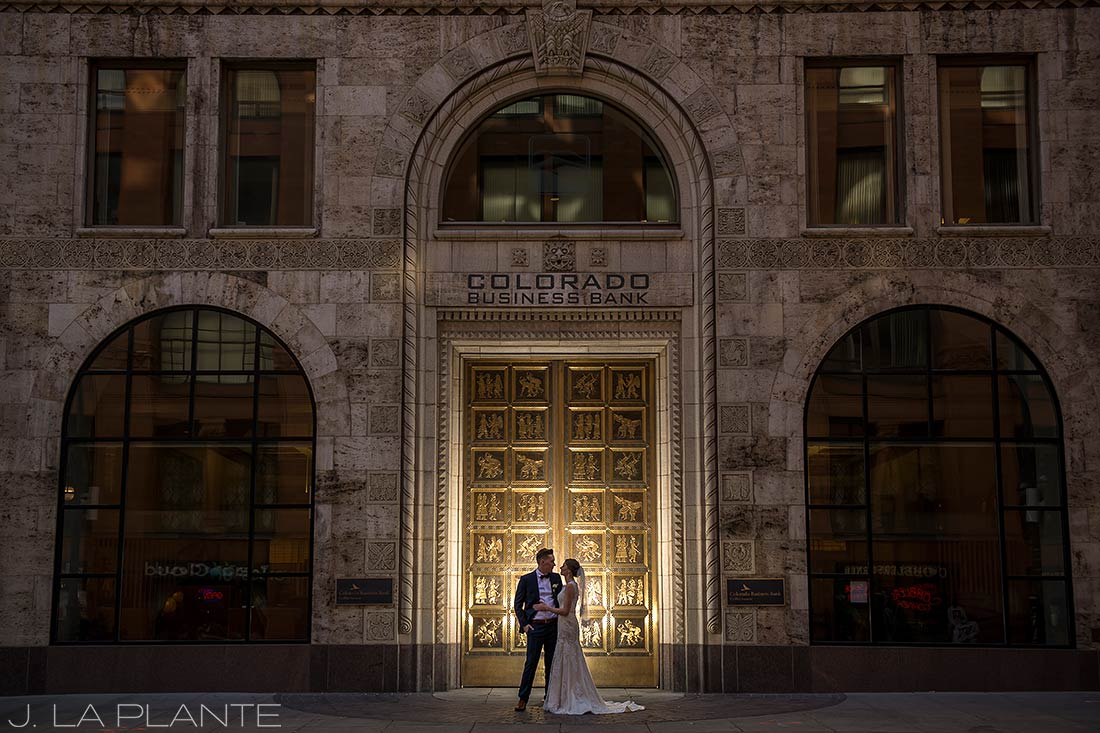 J. La Plante Photo | Denver Wedding Photographer | Grand Hyatt Wedding | Bride and groom in front of golden door