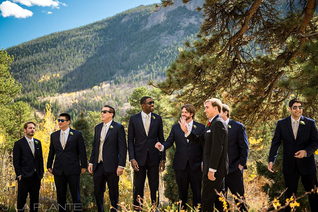 Groomsmen in suits | Fall wedding at Della Terra | Estes Park wedding photographers | J. La Plante Photo