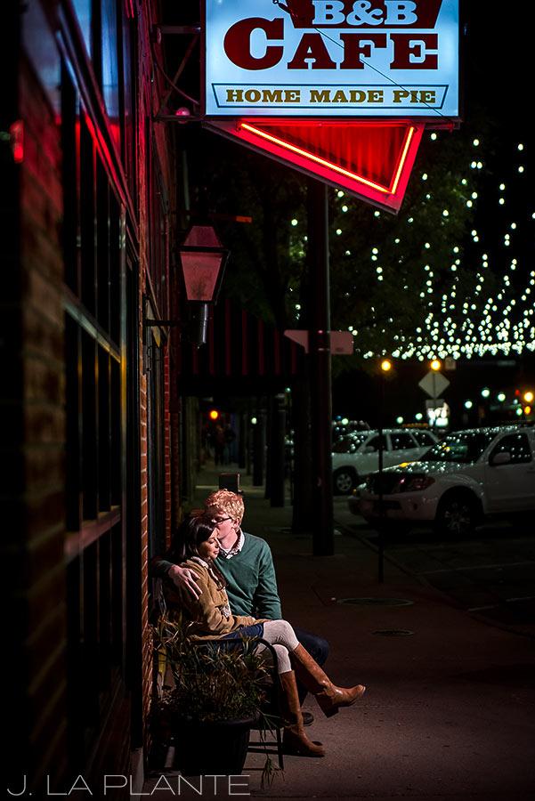 J. La Plante Photo | Colorado Wedding Photographer | Downtown Castle Rock Engagement | Nighttime Engagement Shoot