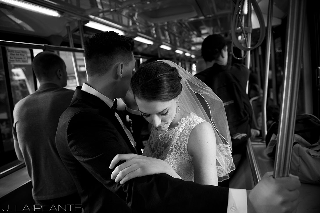 J. La Plante Photo | Denver Wedding Photographer | Grand Hyatt Wedding | Bride and groom riding bus