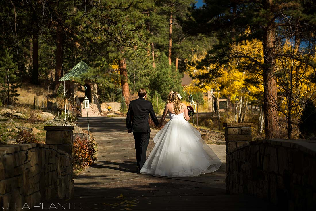 Bride and groom after ceremony | Fall wedding at Della Terra | Estes Park wedding photographers | J. La Plante Photo