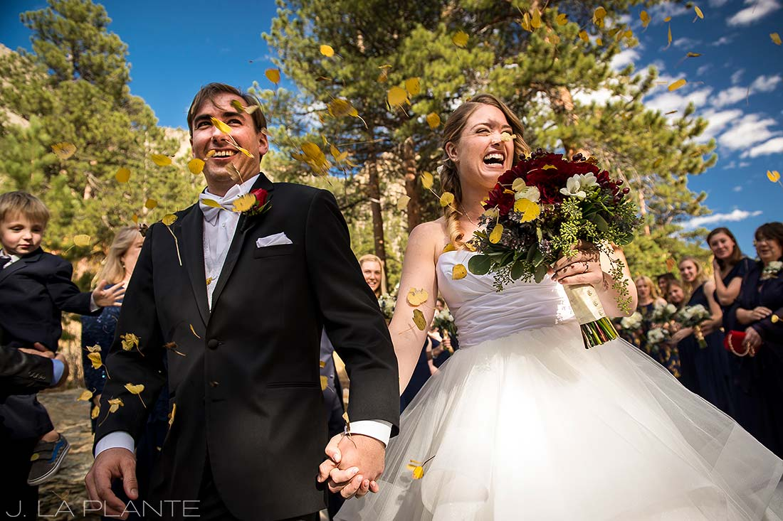 Aspen wedding sendoff | Fall wedding at Della Terra | Estes Park wedding photographers | J. La Plante Photo