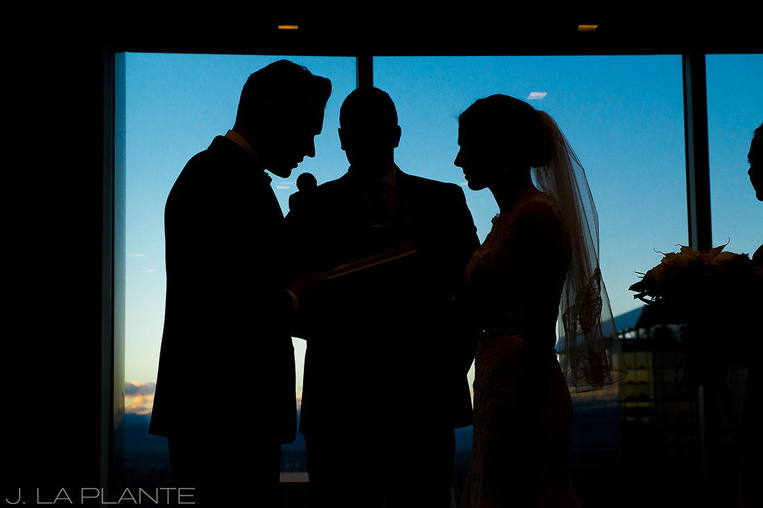 J. La Plante Photo | Denver Wedding Photographer | Grand Hyatt Wedding | Bride and groom saying vows