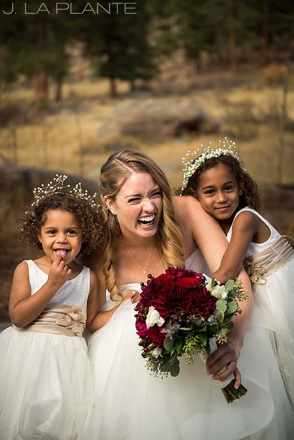 Bride with flower girls | Fall wedding at Della Terra | Estes Park wedding photographers | J. La Plante Photo