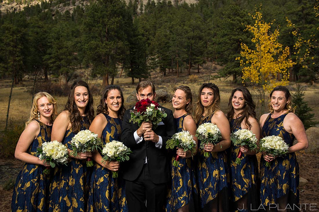 Groom with bridesmaids | Fall wedding at Della Terra | Estes Park wedding photographers | J. La Plante Photo