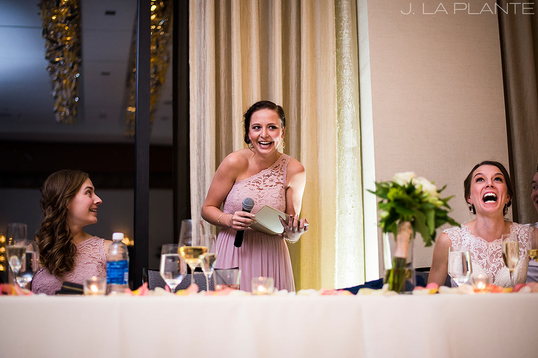 J. La Plante Photo | Denver Wedding Photographer | Grand Hyatt Wedding | Maid of Honor toasting