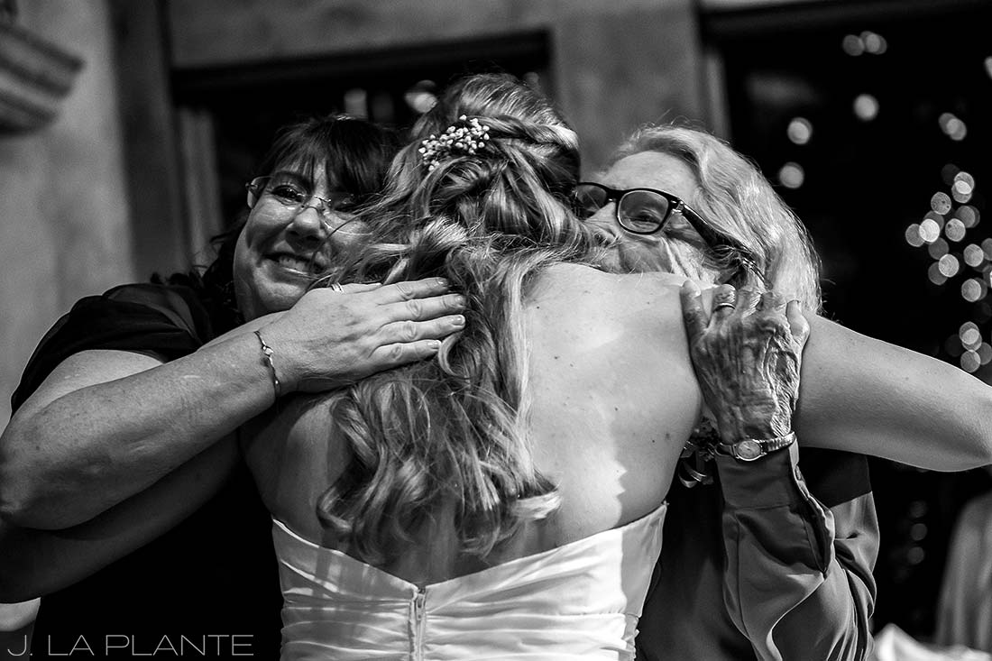 Bride hugging grandmother | Fall wedding at Della Terra | Estes Park wedding photographers | J. La Plante Photo