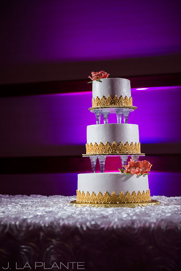 White and gold wedding cake | Hindu wedding in Colorado Springs | Cheyenne Mountain Resort wedding | J. La Plante Photo
