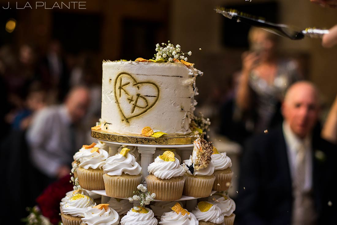 Cake cutting | Fall wedding at Della Terra | Estes Park wedding photographers | J. La Plante Photo