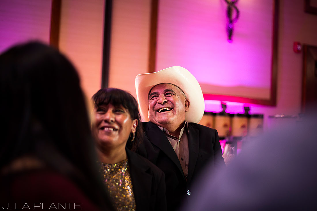 J. LaPlante Photo | Colorado Springs Wedding Photographer | Cheyenne Mountain Resort Wedding | Wedding Guests Laughing