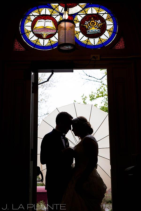J. La Plante Photo   Denver Wedding Photographers   University of Denver Wedding   Bride and Groom Silhouette