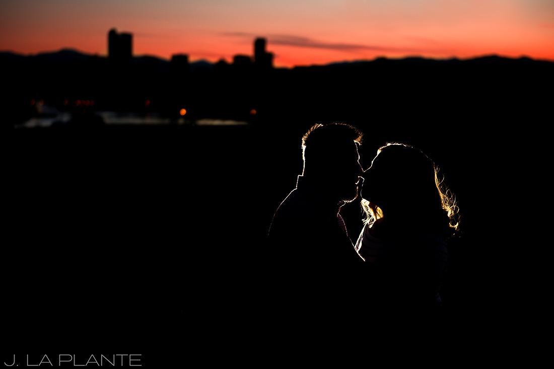 J. La Plante Photo   Denver Wedding Photographers   City Park Denver Engagement   Sunset Engagement Photo