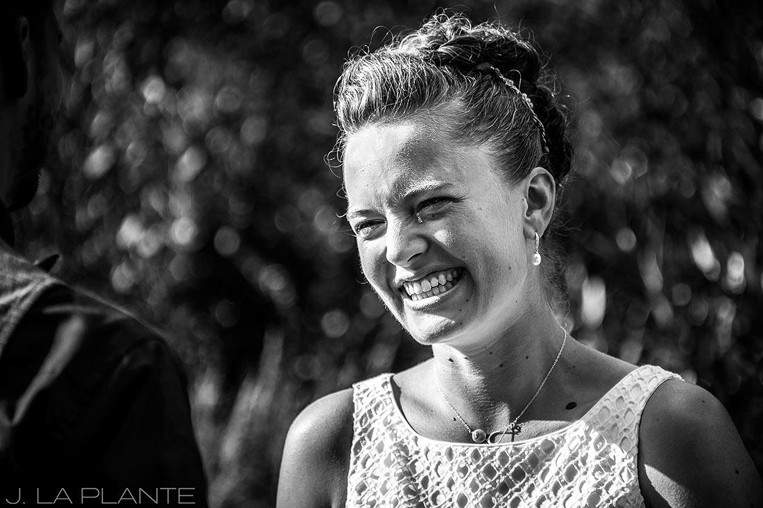 J. La Plante Photo   Colorado Wedding Photographers   Shadow Mountain Ranch Wedding   Bride Crying During Ceremony