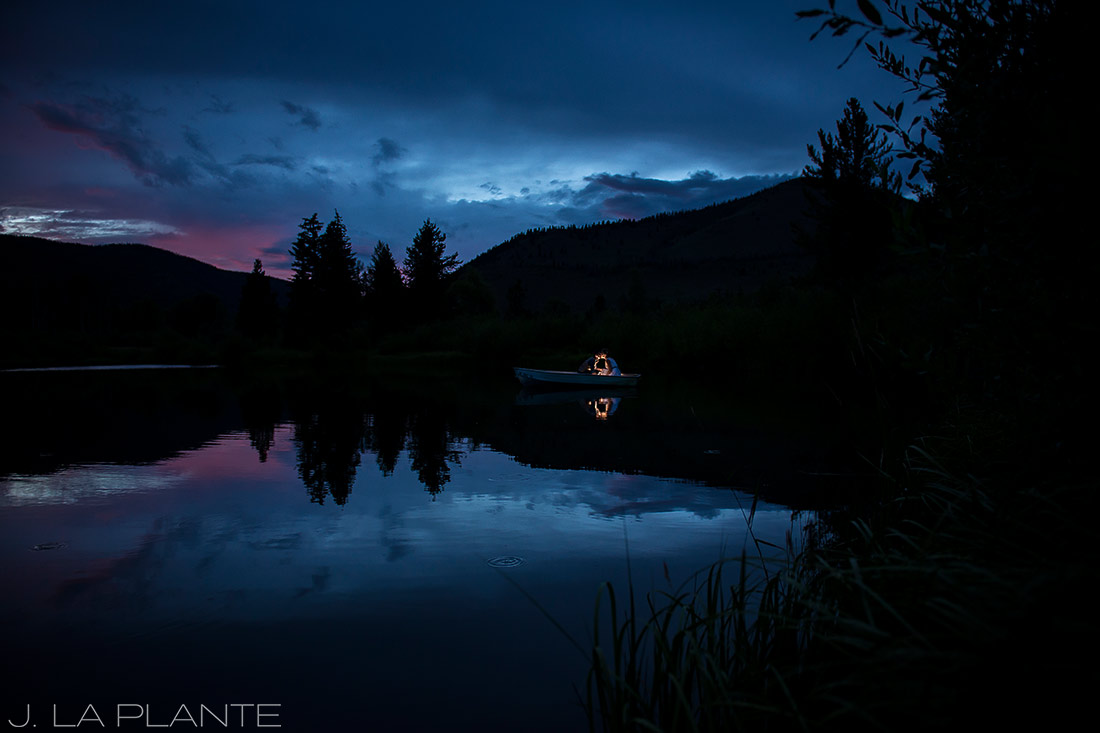 J. La Plante Photo   Colorado Wedding Photographers   Shadow Mountain Ranch Wedding   Bride and Groom Sunset Boat Ride