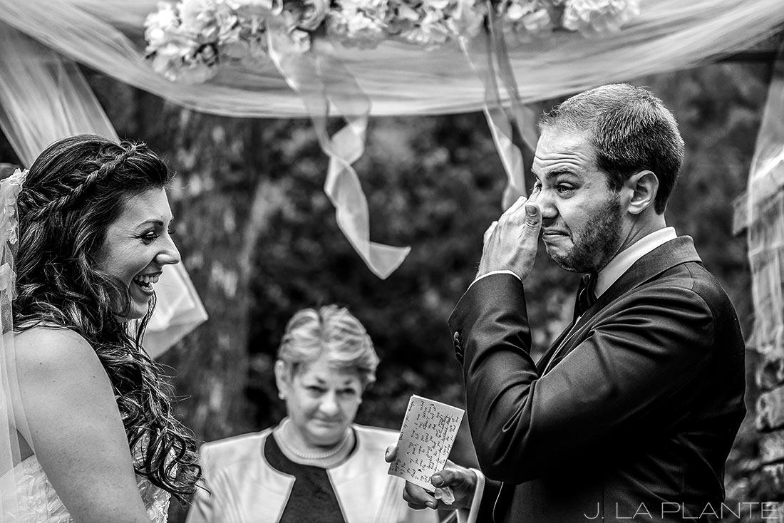 J. LaPlante Photo   Boulder Wedding Photographers   Wedgewood on Boulder Creek Wedding   Groom Crying During Vows