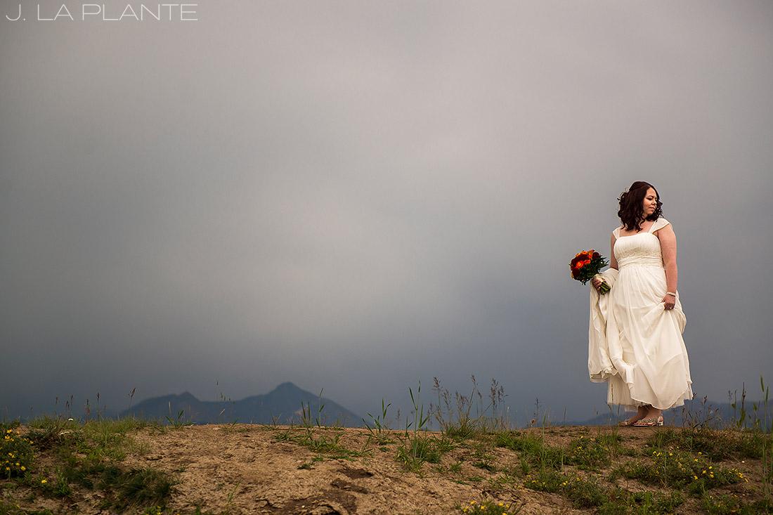 J. LaPlante Photo   Vail Wedding Photographers   Lion Square Lodge Wedding   Bride on Vail Mountain