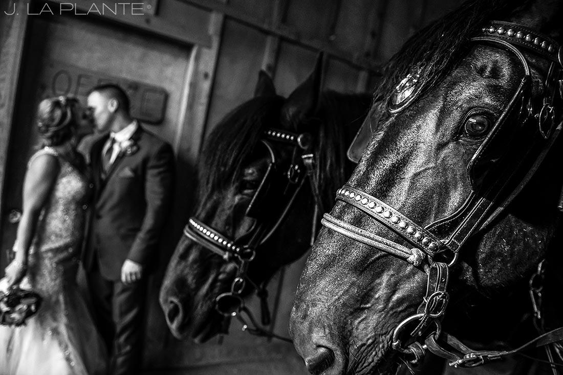 J. LaPlante Photo   Colorado Wedding Photographers   Devil's Thumb Ranch Wedding   Bride and Groom with Horses