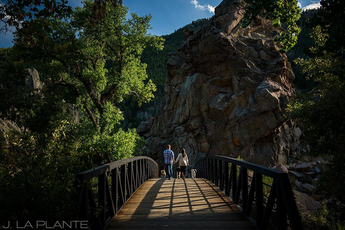 J. LaPlante Photo   Boulder Wedding Photographers   Boulder Canyon Trail Engagement   Engagement Shoot with Dogs