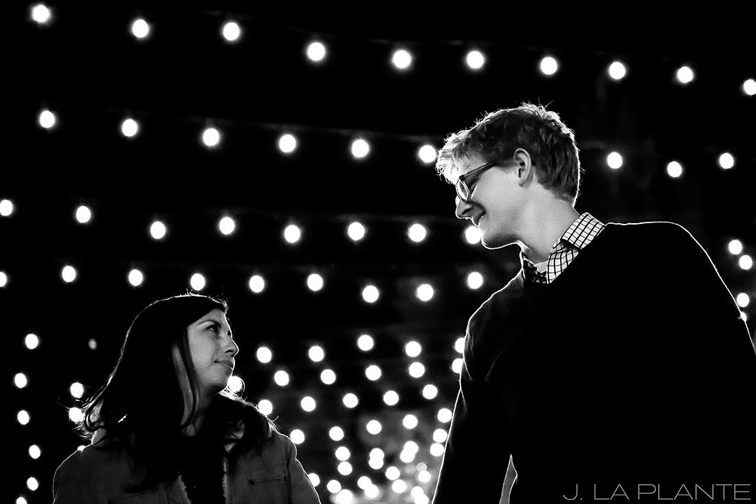 J. LaPlante Photo   Colorado Wedding Photographers   Downtown Castle Rock Engagement   String Lights Engagement Shoot