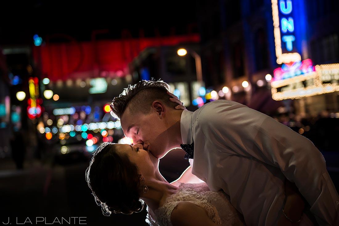 J. LaPlante Photo   Denver Wedding Photographers   Grand Hyatt Denver Wedding   Bride and Groom on 16th Street Mall