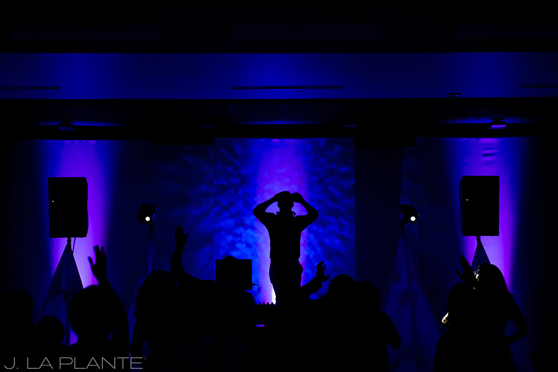J. LaPlante Photo | Aspen Wedding Photographers | Aspen Meadows Resort Wedding | Wedding DJ Dancing
