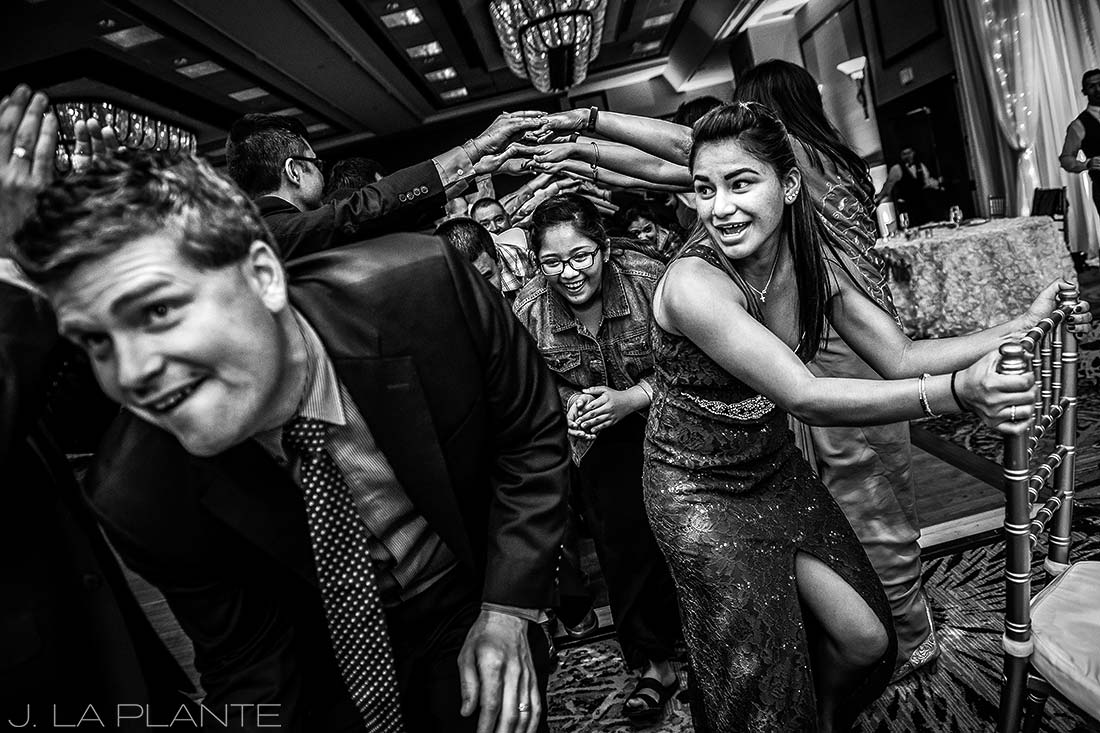 J. LaPlante Photo | Colorado Springs Wedding Photographers | Cheyenne Mountain Resort Wedding | Mexican Line Dance Photo
