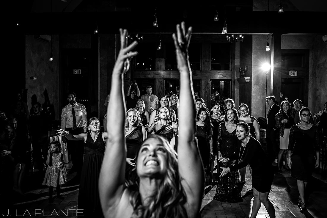 J. LaPlante Photo | Estes Park Wedding Photographers | Della Terra Wedding | Funny Bouquet Toss Photo
