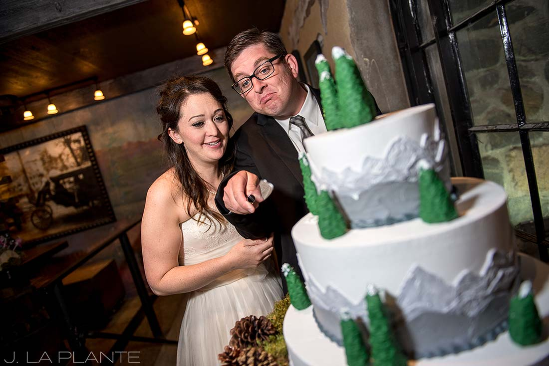 J. La Plante Photo | Evergreen Wedding Photographer | Dunafon Castle Wedding | Bride and Groom Cutting Cake