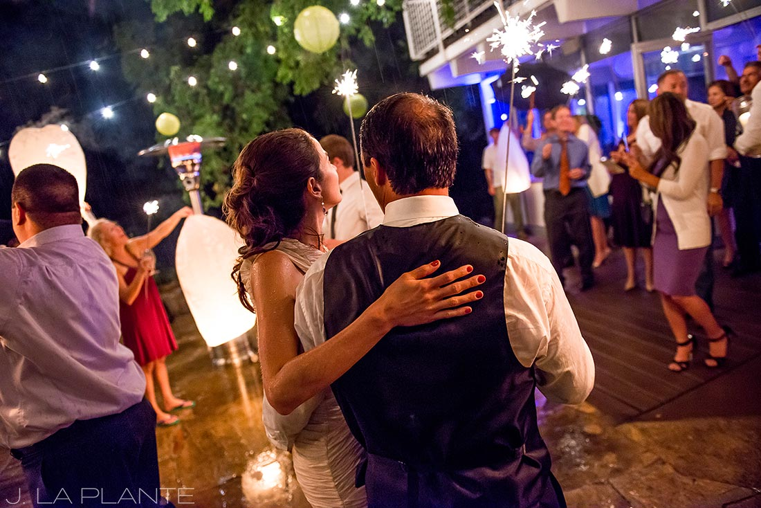 J. LaPlante Photo | Aspen Wedding Photographers | Aspen Meadows Resort Wedding | Bride and Groom Sparkler Send Off