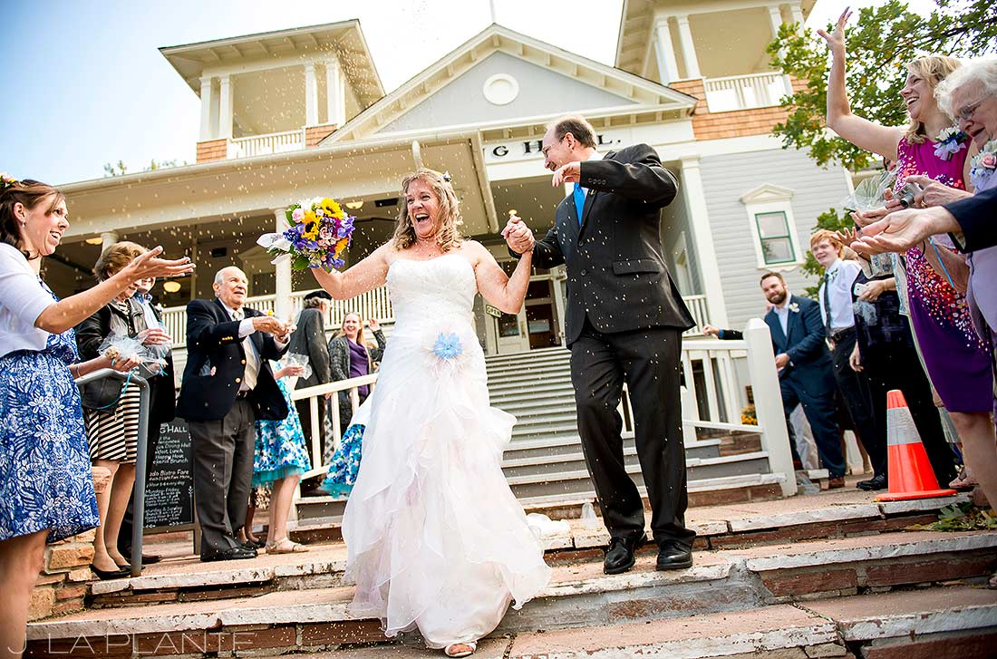 J. LaPlante Photo | Boulder Wedding Photographers | Chautauqua Dining Hall Wedding | Wedding Bride and Groom Send Off