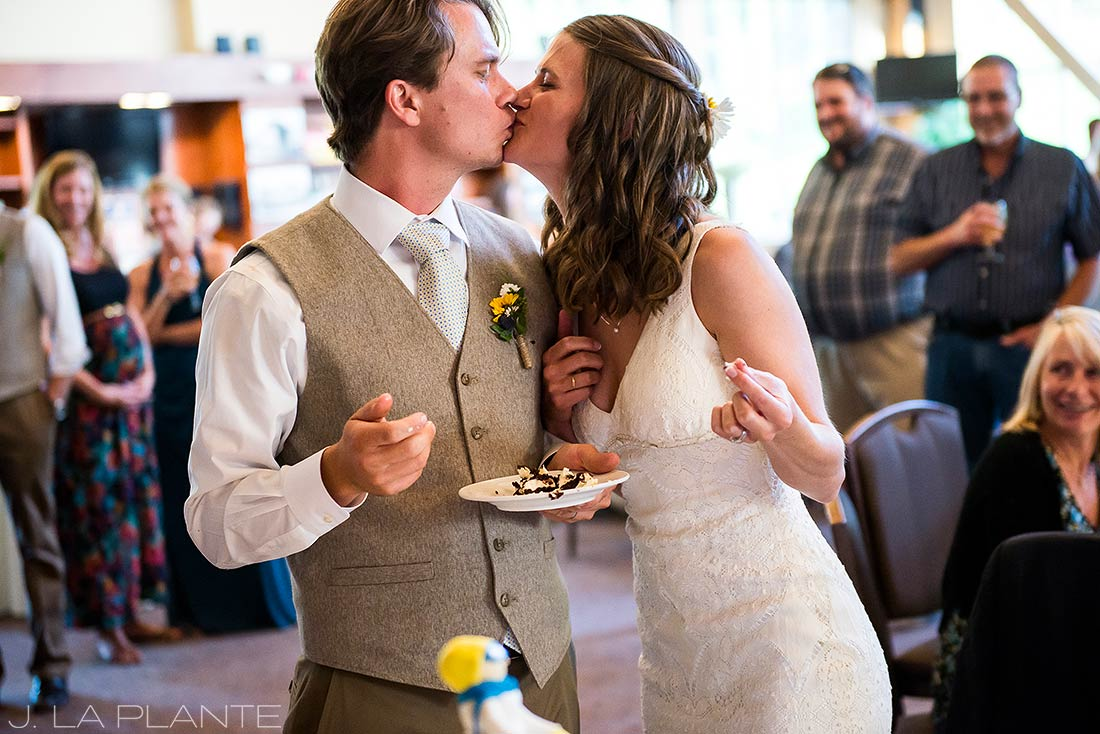 J. La Plante Photo | Rocky Mountain Wedding Photographer | Copper Mountain Wedding | Bride and Groom Cutting Cake