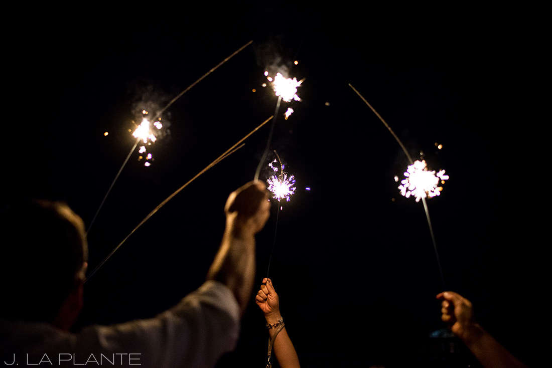 J. LaPlante Photo | Denver Wedding Photographers | Studios at Overland Crossing Wedding | Sparkler Send Off