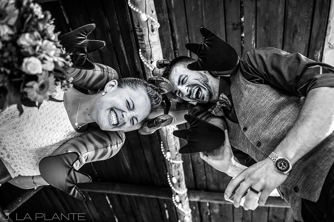 J. La Plante Photo   Winter Park Colorado Wedding Photographer   Shadow Mountain Ranch Wedding   Bride and Groom Dinosaur Themed Wedding