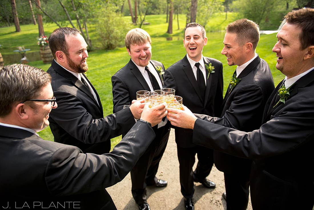 J. LaPlante Photo | Evergreen Colorado Wedding Photographer | Dunafon Castle Wedding | Groom and Groomsmen Drinking Whiskey
