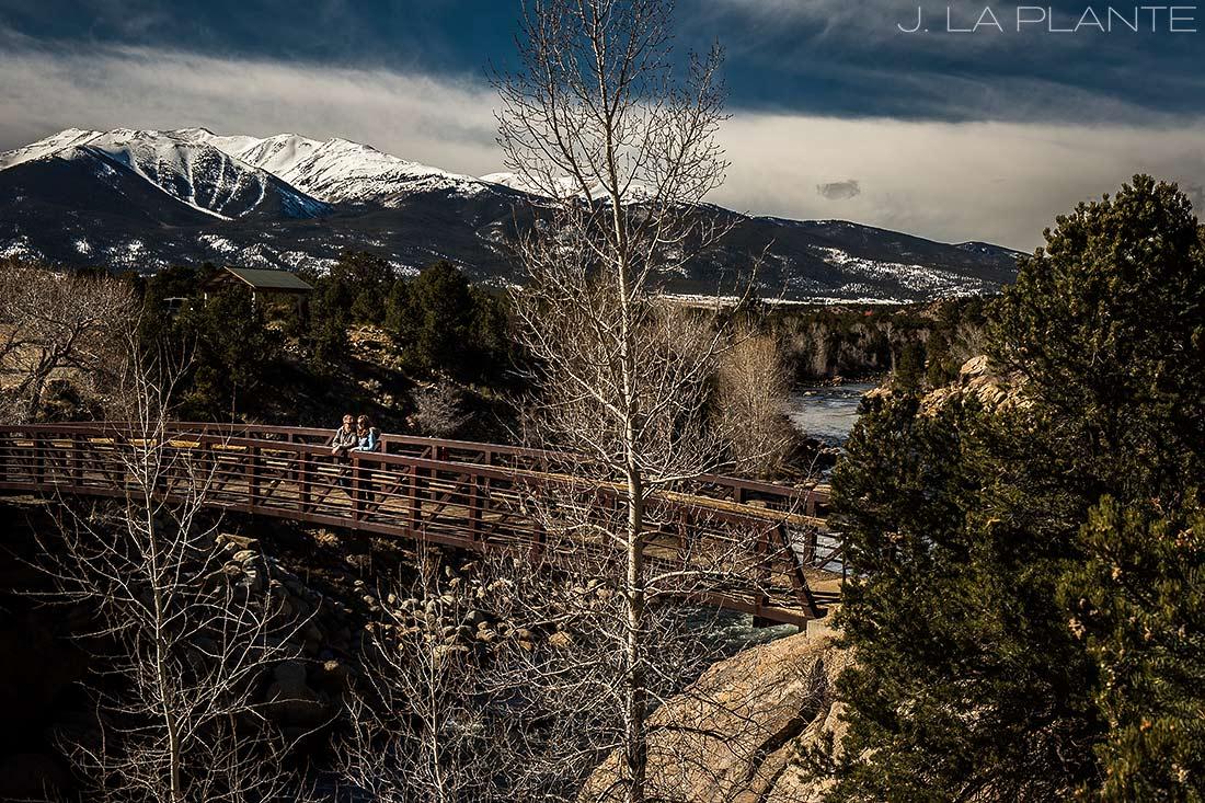 J. La Plante Photo | Colorado Wedding Photographer | Buena Vista Colorado Engagement | Bride and Groom on Bridge