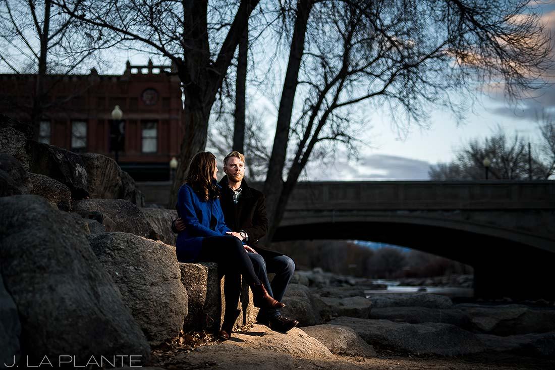 J. La Plante Photo | Colorado Wedding Photographer | Salida Colorado Engagement | Bride and Groom by River