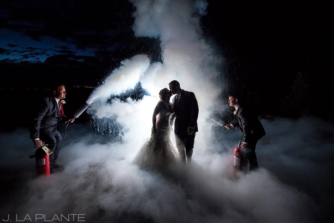 J. La Plante Photo | Colorado Wedding Photographers | Devil's Thumb Ranch Wedding | Bride and Groom Fireman Wedding