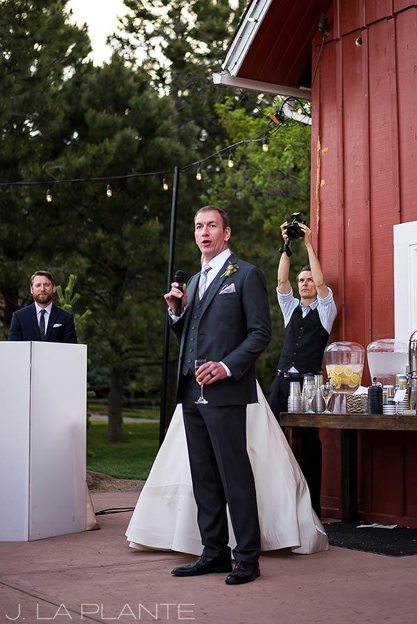 J. La Plante Photo | Colorado Wedding Photographer | Denver Wedding Photography | Chatfield Botanic Gardens Wedding | Groom Giving Speech