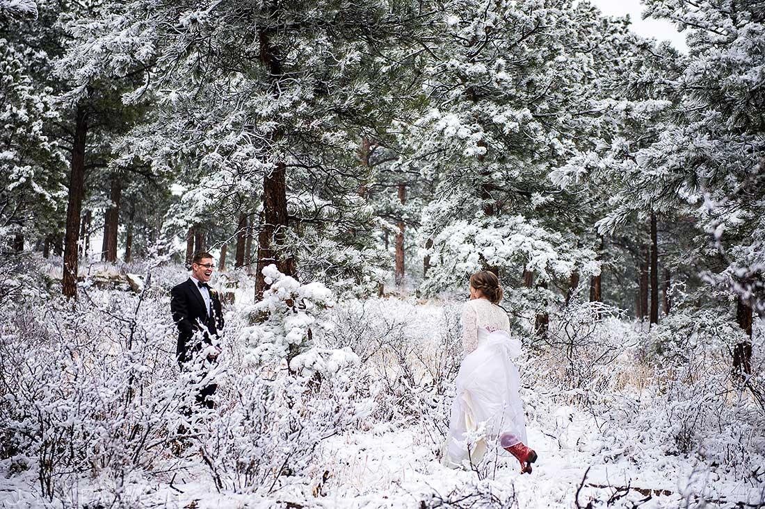 Groom's reaction at first look | Chief Hosa Lodge wedding | J. La Plante Photo | Denver Wedding Photographers