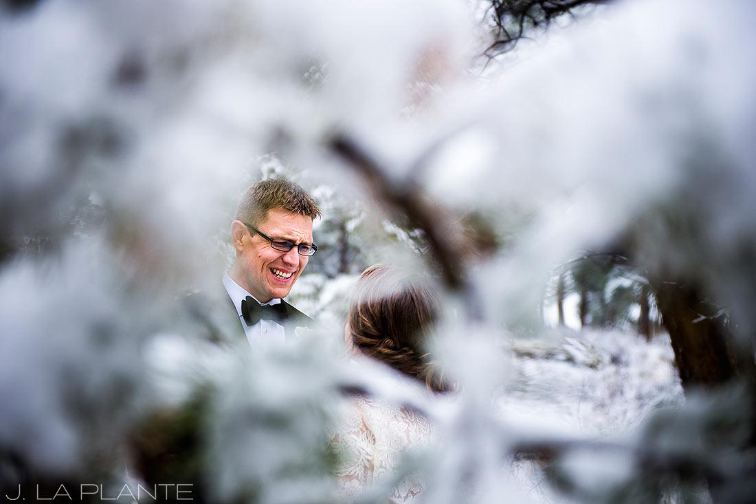 Groom crying at first look | Chief Hosa Lodge wedding | J. La Plante Photo | Denver Wedding Photographers