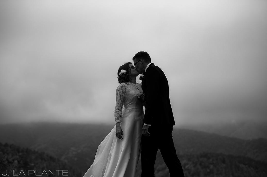 Black and white bride and groom portrait | Chief Hosa Lodge wedding | J. La Plante Photo | Denver Wedding Photographers