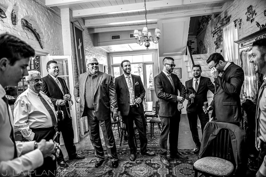 Groomsmen drinking | Race & Religious Wedding | New Orleans Destination Wedding Photography | J. La Plante Photo
