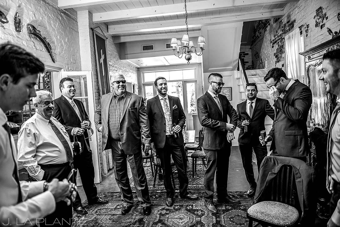 Groomsmen drinking | Race & Religious Wedding | New Orleans Destination Wedding Photography | J. La Plante Photo