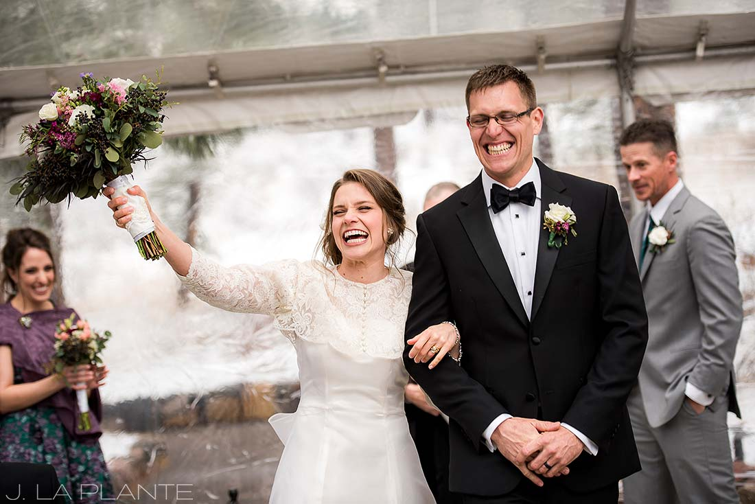 Bride and groom announcement | Chief Hosa Lodge wedding | J. La Plante Photo | Denver Wedding Photographers